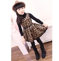 Spring / Autumn america vest - Spring Autumn sleeveless Baby Kids Dress Europe and America Girls leopard print Vest Dresses Children Clothing TS173