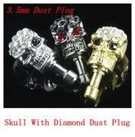 Wholesale Charm Skull With Diamond mm Dust Plug For iphone Samsung Universal Cellphone Skull Anti Dust Cover Crystal earphone jack Free Sihppping