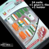 Full Natural Tips Oval Nail Tips Wholesale - Freeshipping-24x Airbrush full cover ireland flag design false nail tips french design +glue+file+ho