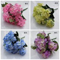 Wholesale 4Pcs cm quot Length Pink Blue Purple green Artificial Simulation Fresh Hydrangea Seven Flower Heads per Bush Wedding Flower