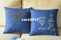 Wholesale Bird With Flower Art Linen cushion cover seat cushion Creative personality cushion Home Decor