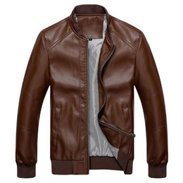 Wholesale Autumn winter full zip gentleman mens stand collar leather jackets outerwear in coffee BB004co