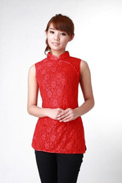 Shanghai Story new sale high quality chinese traditional clothing cheongsam top woman Lace vest Sleeveless eleglant red black white