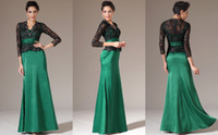 Wholesale 2014 Retro Fashion Elegant Mermaid V neck Green Satin Lace Dresses Long sleeve Ribbon Layered Ankle length Evening Dresses