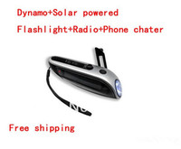 Wholesale Multi function Dynamo and Solar powered flashlight Mobile phone charger Radio LED torch