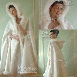 Wholesale 2014 Winter warm hooded furs bridal cape ivory charming wedding colaks faux ankle length A line bridal wraps amp jackets
