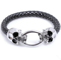 Wholesale European Steampunk Skull Bracelet Men s Stainless Steel Bracelets Braided Leather Wrap Bracelets Health Care LB072