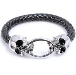 Wholesale European Steampunk Skull Bracelet Men s Stainless Steel Bracelets Braided Leather Wrap Bracelets Health Care LB072