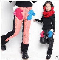 Casual Pants Girl Winter Winter Children Pants Korean Thicken Leyo Colour Matching Girls Leather Pants Kids Leather Leggings Child Casual Pants Fit
