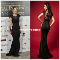 Wholesale Red Carpet Crew Mermaid brush Spandex Short sleeves Black Long Evening dress Sexy Prom gowns Ball dress Pageant dress Plus size