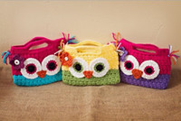Cheap Hand Made Owl Coin Purses Knitted Color Patched Children Coin Money Bags Animasl Cute Wallets Bag Button Cards Case Portable Bag D1654