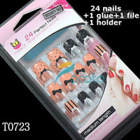 Full Natural Tips Oval Nail Tips Wholesale - 24x Airbrush full cover bowknot design false nail tips french design +glue+file+holder Dropshipping