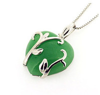 Wholesale amp Retail for Real Sterling Silver Jade Pendant with White Gold Finish Green Jade Pendant Top Quality Q0232