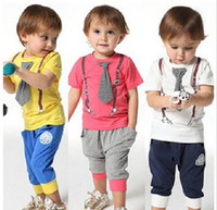 Boy Summer Short New Arrival Summer Children Clothing Set Fashion Tie Tshirt + Harem Pants 2pcs Boy Casual Tracksuit Kids Suit Baby Sets QZ529