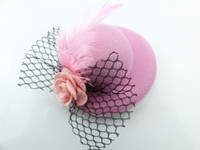 Wholesale Children feather headdress small hat hairpin hairpin CM flowers mesh hat Bow