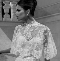 Wedding Hood/Poncho Half-Sleeve 2014 Vintage sheer lace Wedding shawl wedding cape Bridal Wraps high neck pearl falbala Berta bridal Winter the high quality