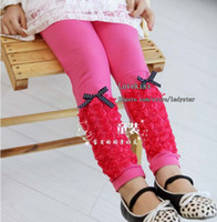 Leggings & Tights Girl Spring / Autumn Child Clothing Kids Trouser Bowknot Leggings Long Trousers Girls Cute Lace Flower Tights Skinny Pants Children Leggings Tights Girl Clothes