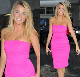 Sheath Strapless Ruffles Short Knee Length Satin New Style Celebrity Red Carpet Prom Evening Dress DL10145