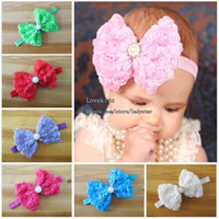 Wholesale Bows Princess Headwear Childrens Accessories Girls Cute Chiffon Rose Flower Headbands Baby Hair Accessories Fashion Pearl Bowknot Headbands