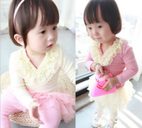 Cheap 2014 Spring new style Baby Kids Clothing princess lace Flower collar Girls T Shirt Korean Children T Shirts TS176