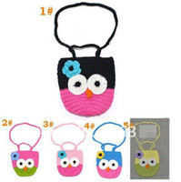Wholesale Knitted Color Patched Hand Made Owl Coin Purses Children Coin Money Bags Animasl Cute Wallets Bag Button Cards Case Portable Bag D1656