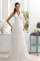 Wholesale Plain Empire Halter Top Court Train Taline s Wedding Dresses