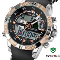 Men's Round 26 Wholesale - Metal Band WEIDE Men Multifunction Quartz Analog & Digital Sports Wrist Watch 30m Water Resistant Free Shipping