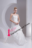 Cheap Customized Made 2014 Strapless Ruched Bodice And Pin Up Taffeta Applique With Hand Made Flower Wedding Bridal Gown vestidos Free Shipping