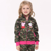 Jackets Girl Spring / Autumn F4333# Nova 2014 18m-6y baby girls new design peppa pig embroidery camo army green casual jackets children winter outwear kid fleece hoodies