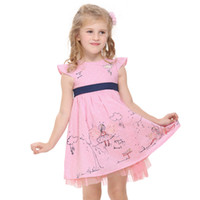 Wholesale H3816 Pink Nova new arrival y y baby girls princess dress kids party dress lovely girls amp rabbit two sides printing cotton summer dress