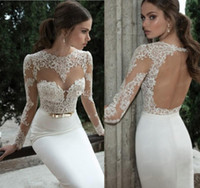 Wholesale Vestidos De Noiva New Arrival Sexy Long Sleeves Sheer Lace Mermaid Prom Dresses Satin Evening Dress Prom Dress
