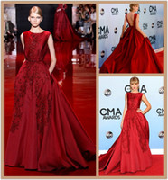Wholesale Elie Saab Prom Dresses Ball Gown Backless Swift Celebrity Dresses Appliques Beads Jewel Neck Cap Sleeve Red Carpet Evening Gowns