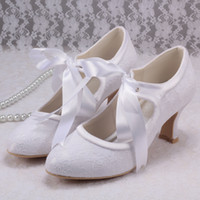 Wholesale Colors Mary Janes Lace up White Wedding Shoes Low Heels High Quality Lace Small Heel Custom