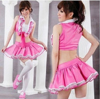 Wholesale student role playing pink student uniforms cheerleading costume party dress DS costumes student sexy uniform