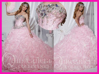 Wholesale Princess Luxury Pink Beads Crystal Sweetheart Floral Ball Gown Girl Quinceanera Dresses Stones E4577