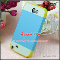 For Samsung Plastic For Christmas For Samsung Galaxy Note 2 II NOTE2 N7100 Fashion NX ID Credit Card Slot Hybrid silicone gel plastic Hard Case Luxury Camo skin Cover cases