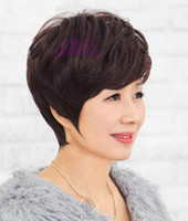 Wholesale Wig Middle aged women Short hair Bob Mother Fashion Synthetic hair High temperature wire Black Brown Hair net dajf003