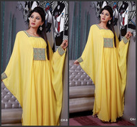 Reference Images Queen Anne Chiffon 2014 New Arrival Dubai Kaftan Abaya Yellow Chiffon Beading Evening Dresses
