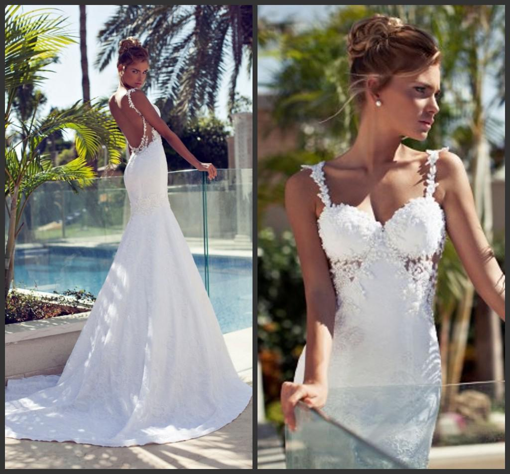 2014 gorgeous lace applique bead spaghetti straps mermaid for Sexy open back wedding dress