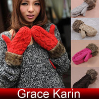 Wholesale Korean Women Girls Winter Warm Thick Knitting Wool Gloves cl5158