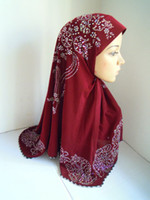 Wholesale mu252 solid color with a of hot drill islamic hijab hot sale mix colors in one islamic hijab