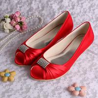 Wholesale Colors Elegant Flats for Women MQW Red Peep Toe Satin Rhinestones Flat Heel Bridal Wedding Party Shoes US