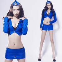 Wholesale blue cheerleading clothes car model clothing pole dancer singer DS costumes sexy stewardess uniforms