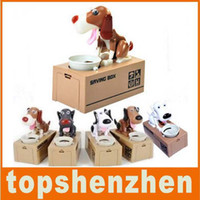 Unisex bank animal - New Style dog shaped bank coin money Choken Puppy Eating Dog Kids Coin Bank Saving Box