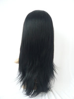 Wholesale Grade A Swiss Full Lace Wigs Glueless Cap quot quot Virgin Indian Remy Hair Extensions Silky Straight Jet Black DHL