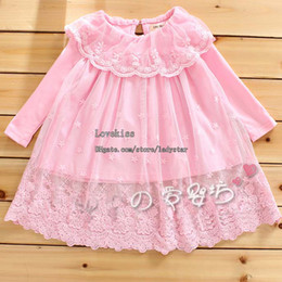 Infant Princess Shirt Girls Cute Lace Embroidered Shirts Baby Clothes Child Long Sleeve T Shirt Children T Shirts Kids Clothing Shirt Dress