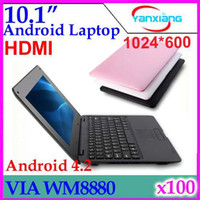"""Android 4.2 10-10.9'' Wired DHL 100PCS VIA8880 CPU Dual core 1.5GHz 512M RAM 4G ROM webCam HMDI optional color 10"""" cheap laptop ZY-BJ-3"""