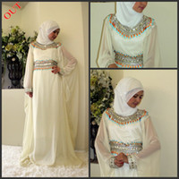 Cheap 2014 New arrival Arabic ABAYA KAFTAN Ivory Chiffon Beaded Evening dress Dubai Prom dresses With Veil