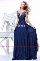 Reference Images Crew Neckline Organza 2014 tarik ediz Hot Sexy Jewel Neck Chiffon Navy Blue Ruffles Applique sheer illusion neck Evening formal occasion Prom party Dresses 92130