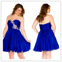 Wholesale QM New Cheap Mini Length Party Gown For Fat Woman Sexy Blue Sweetheart Rhinestone Beaded Corset Zipper Short Plus Size Cocktail Dresses